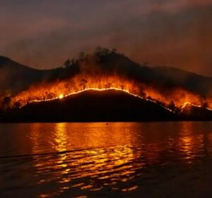 Forest fire behind a lake